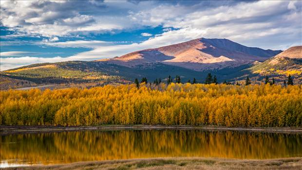 Reflecting Colorado Gold - A small lake between South Park and Fairplay, Colorado reflects the fall aspens as the sun sets on a beautiful weekend.