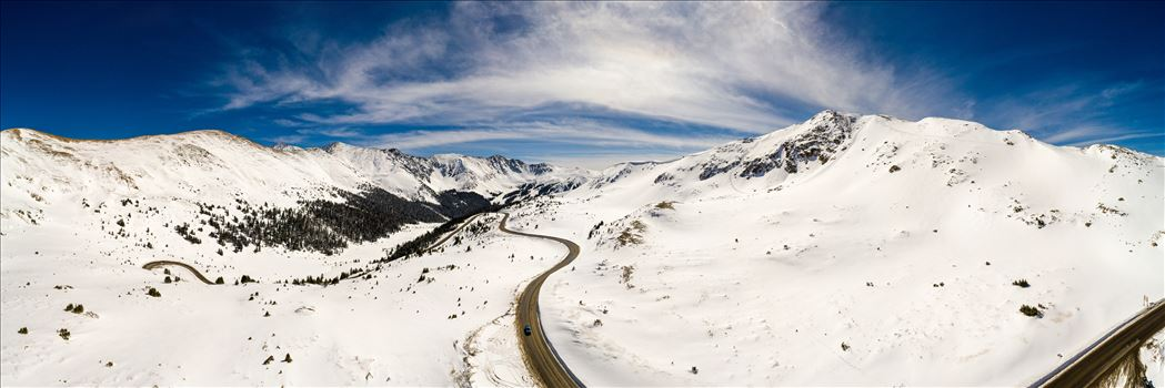 A panoramic aerial photo of Loveland Pass, Colorado, made up of 21 separate photos.