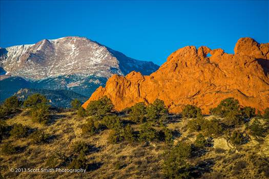 Sun rising on the Garden of the Gods by D Scott Smith